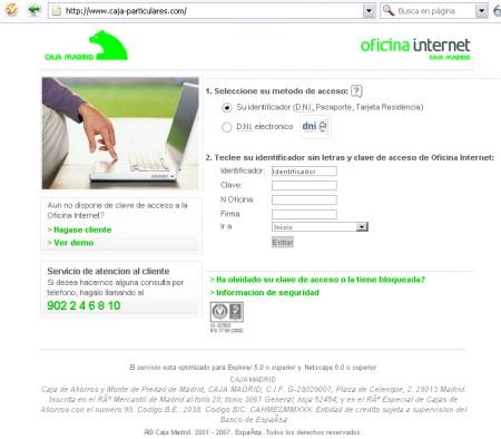 web que suplanta la imagen de la