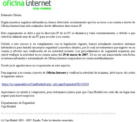 Nuevo ataque phishing a gran escala que afecta a clientes de caja madrid - Caja espana oficina virtual clientes ...