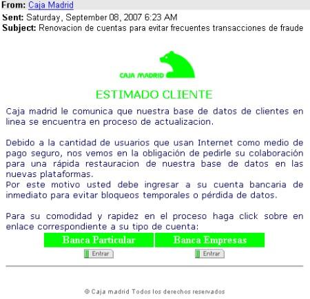 Varios phishing bancarios que afectan a caja madrid for Caja madrid es oficina internet