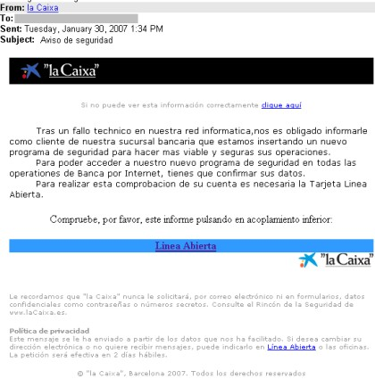 Varios ataques phishing detectados que afecta a clientes for Seguro hogar la caixa